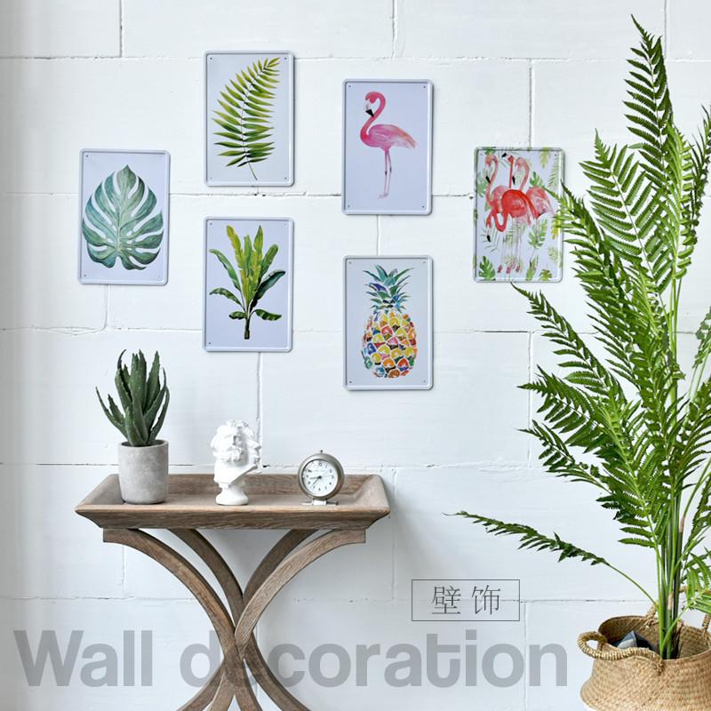 客厅壁挂画_简约创意清新热带植物客厅卧室墙上铁皮画墙面装饰壁饰壁挂