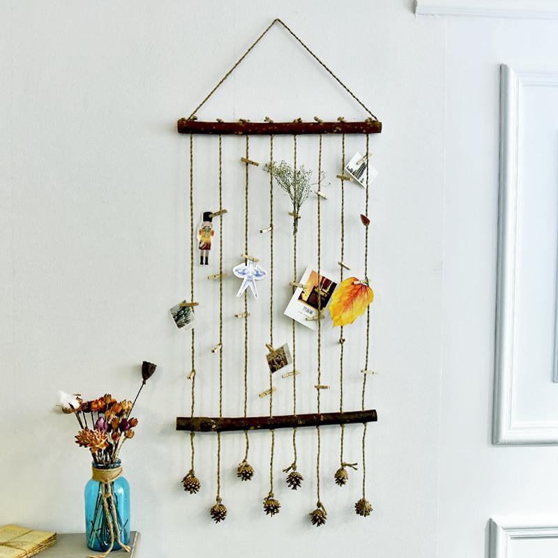 复古乡村麻绳天然木棍拍立得照片墙挂帘壁饰墙面装饰创意个性挂饰
