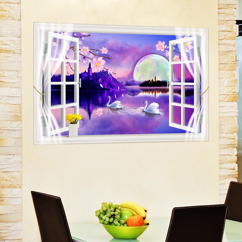 3d立体创意墙贴纸玄关楼梯餐厅客厅沙发背景墙壁纸梦幻风景画窗户