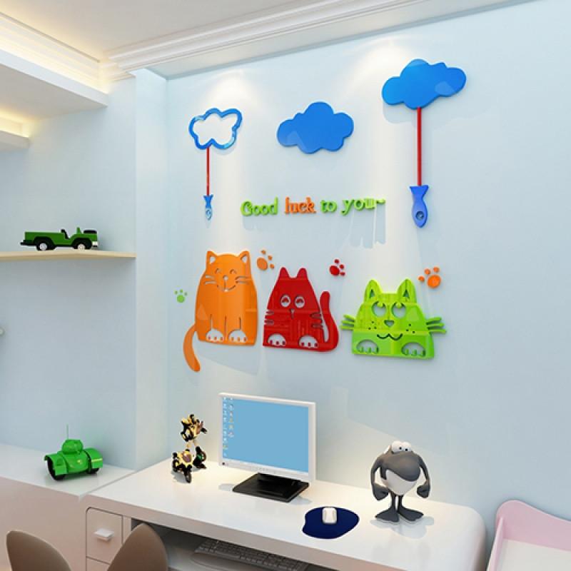 幸运猫亚克力3d立体墙贴儿童房卡通可爱动物墙贴画幼儿园墙面装饰