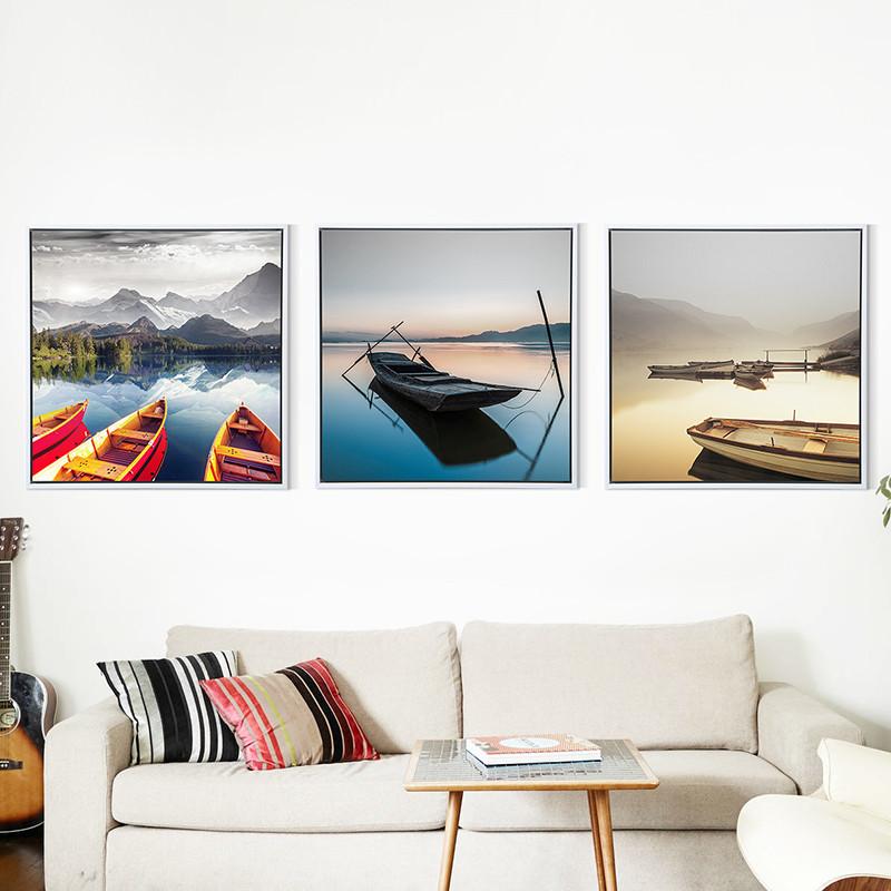 现代风景装饰画客厅简约办公室挂画壁画沙发背景墙画意境三联画船