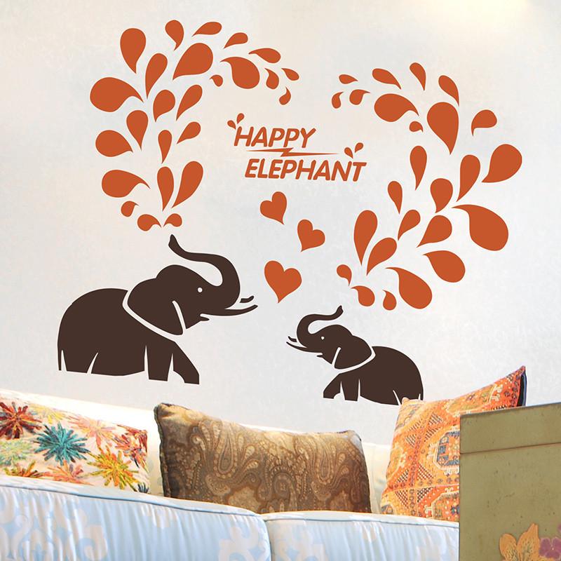 沙发背景客厅卧室自粘壁纸墙贴纸贴画大象喷水创意卡通儿童房卧室图片