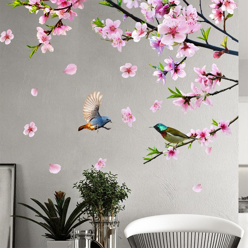 春暖花开桃花沙发背景墙自粘壁纸墙贴纸卧室客厅墙贴纸贴画房间