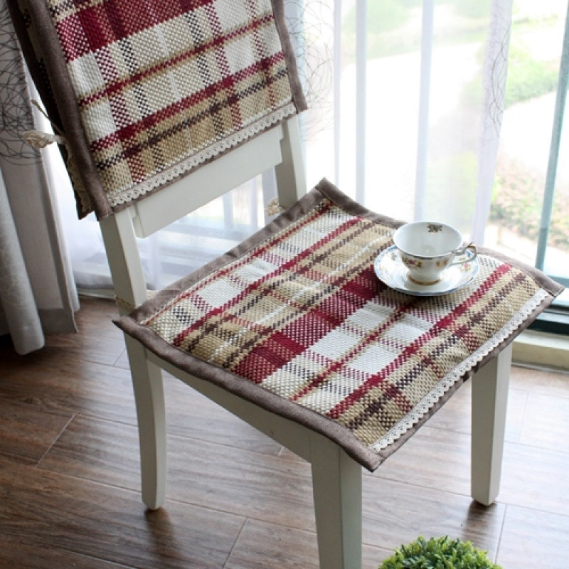 四季棉线编织椅子坐垫 餐椅垫座垫绑带办公室椅垫可机
