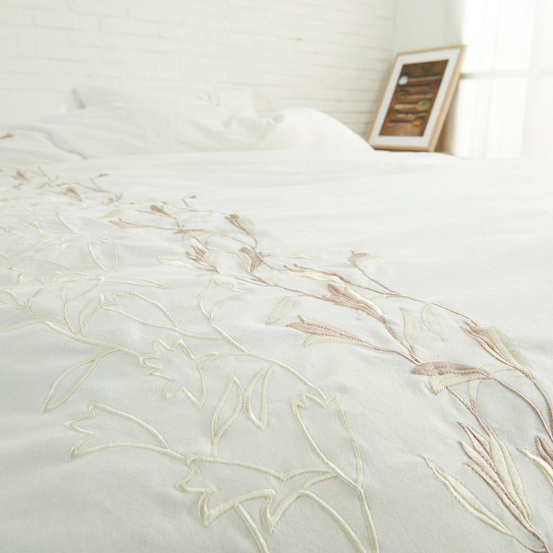 全棉水洗棉麻床上用品四件套被纯棉床单床笠式简约素色刺绣中式