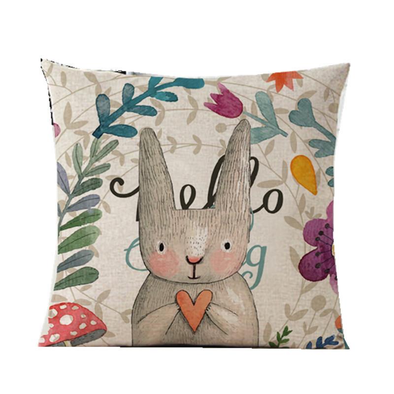 兔子抱枕正方形抱枕汽车靠垫棉麻居家抱枕可爱兔子蜜蜂韩版抱枕