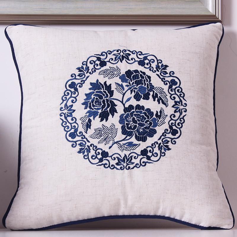 速卖通 沙发靠枕靠垫套刺绣抱枕沙发垫 梅花绣花靠枕