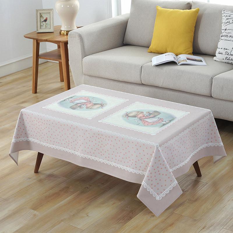 粉色可爱卡通小女孩桌布棉麻布艺书桌布餐桌布茶几布正方形台布