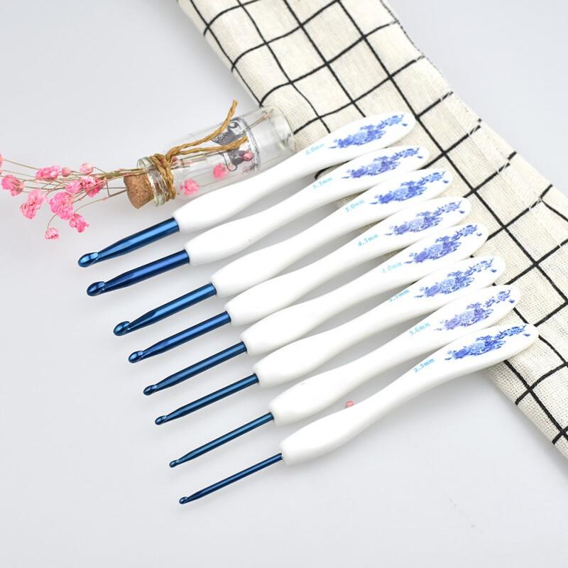 卓品佳手工编织毛线钩针工具套装青花瓷蕾丝钩针细线diy不锈钢小头