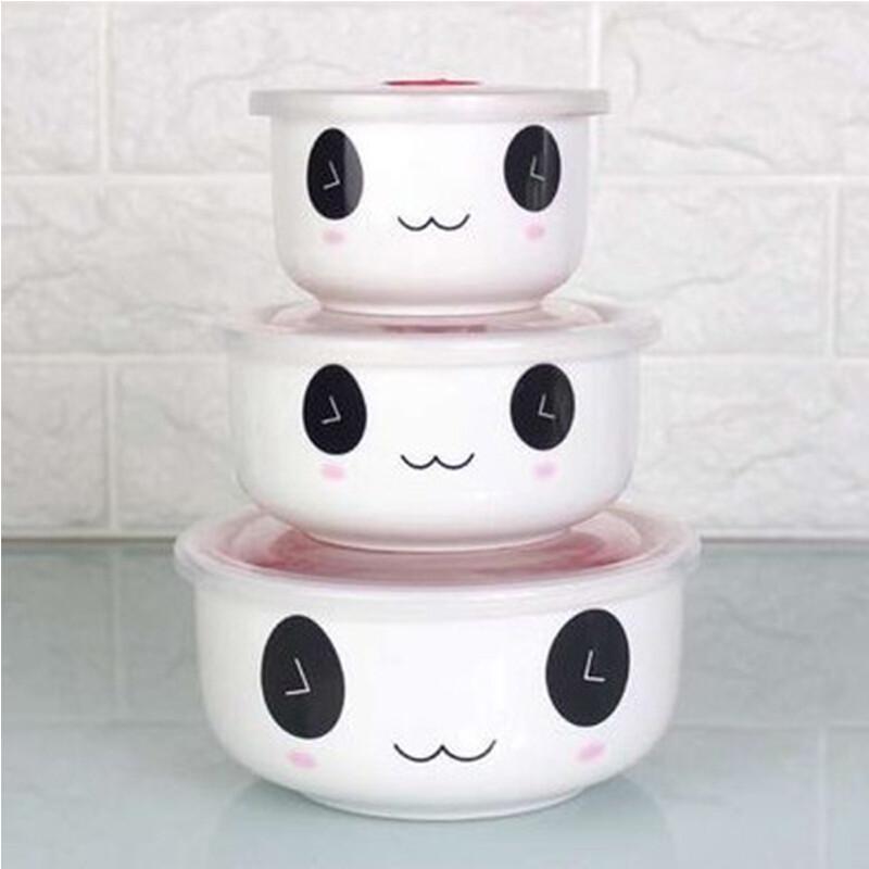 瓷器保鲜碗三件套微波炉冰箱便当盒泡面带午餐饭碗带密封盒熊猫保鲜碗