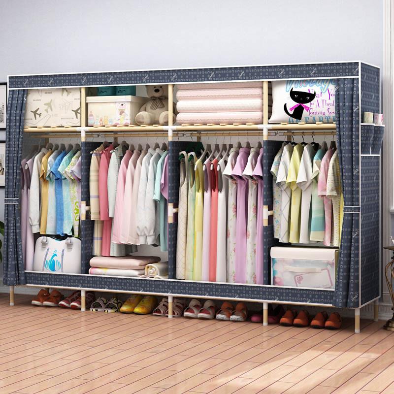 家时光 简易布衣柜[2米超大]折叠全实木非钢架简约现代经济型组装收纳