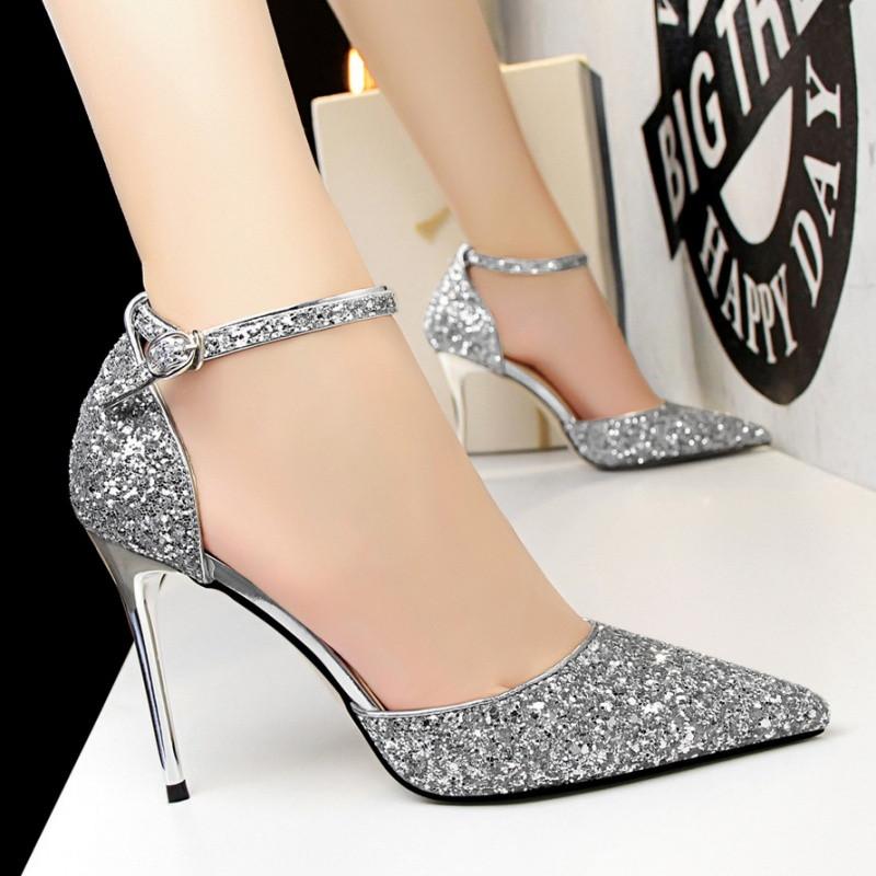 2017新款夏季女凉鞋水晶亮片尖头高跟鞋细跟浅口一字扣带镂空单鞋新娘