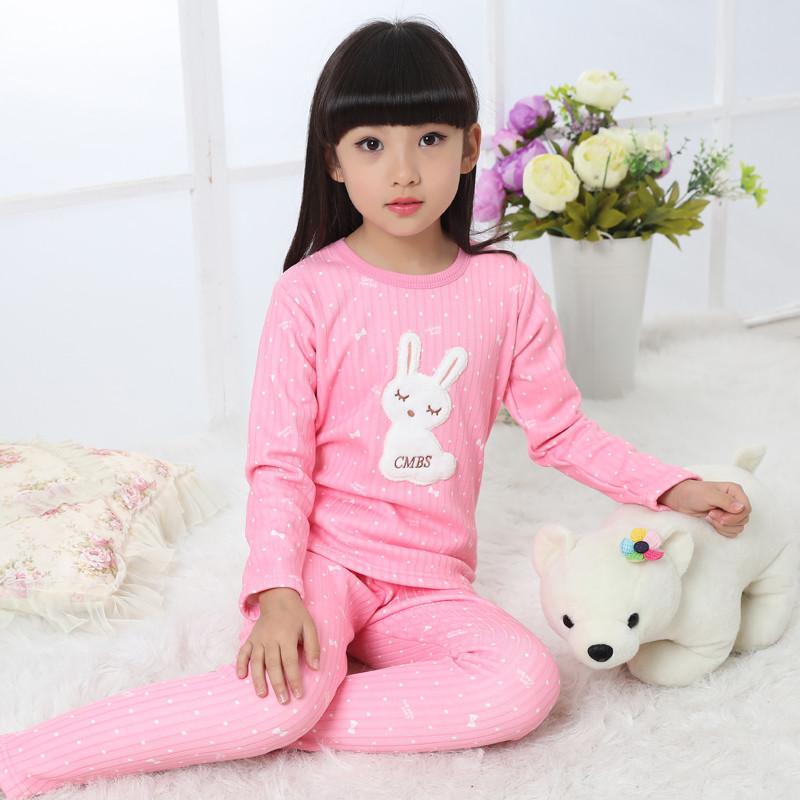 女童秋衣裤儿童保暖内衣套装加绒冬季宝宝睡衣纯棉加厚小孩棉毛衫