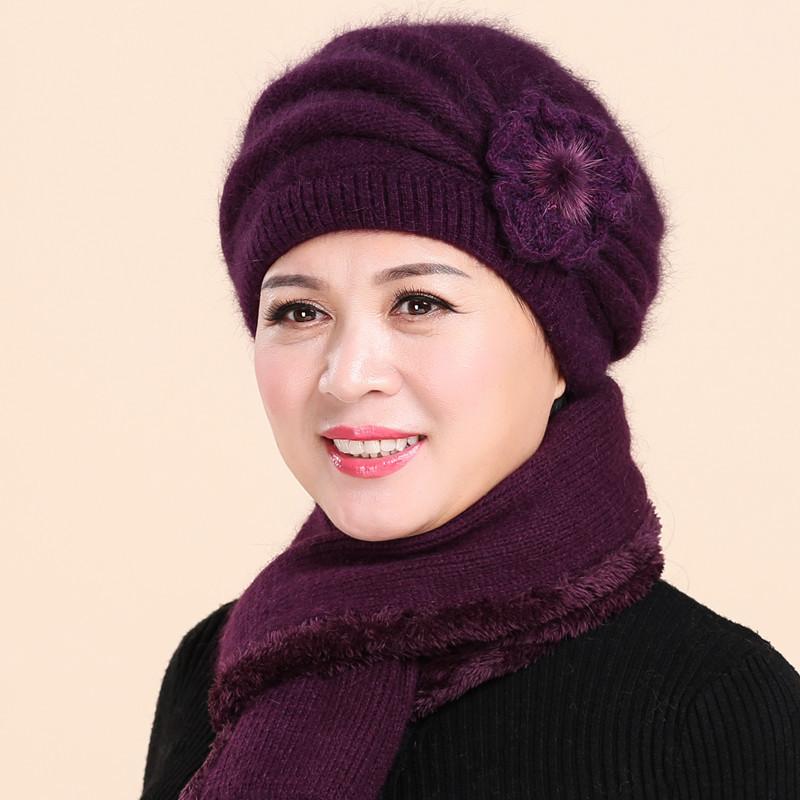 老年人帽子女秋冬季保暖兔毛针织帽老太太奶奶毛线帽中老年妈妈帽