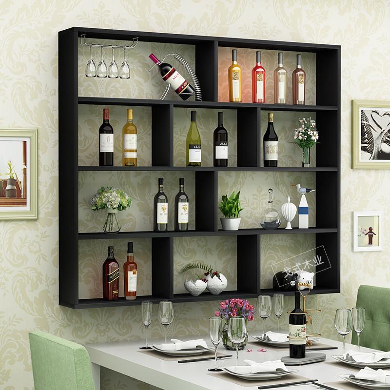 简约家用餐厅墙上创意造型酒架壁挂式酒柜饭店吧台墙壁装饰悬挂