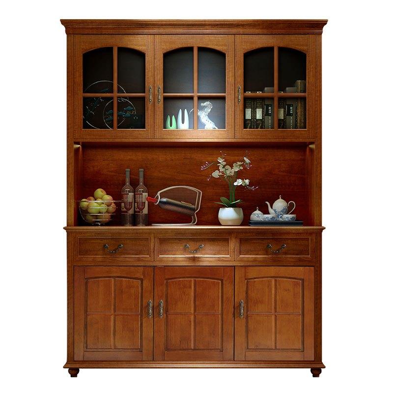 美式餐邊柜全實木酒柜儲物柜客廳歐式現代簡約廚房碗柜餐廳茶水柜