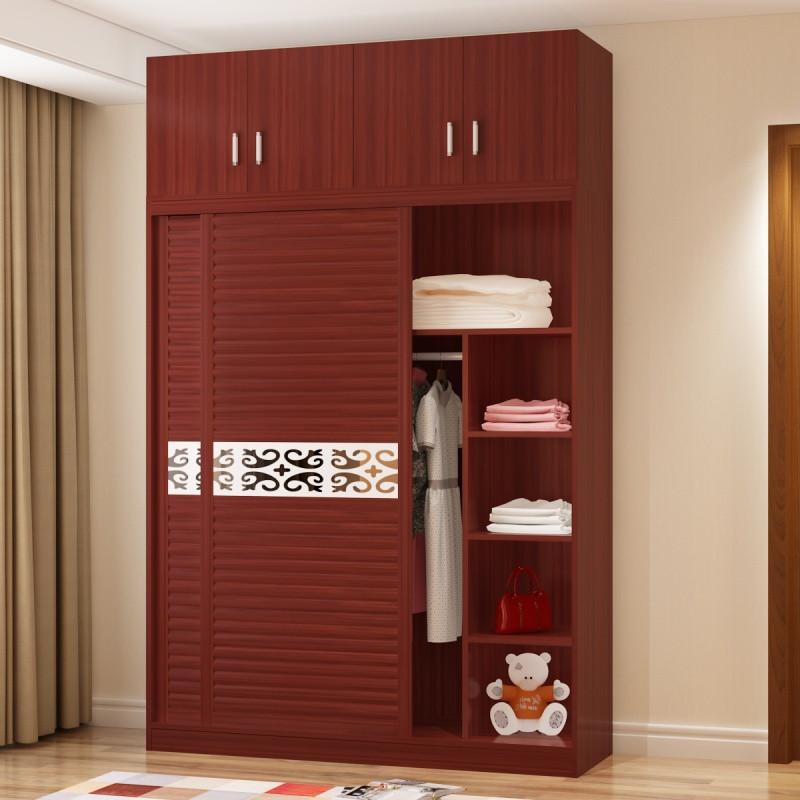 衣柜实木2门现代简约卧室推拉门板式组合整体移门木质