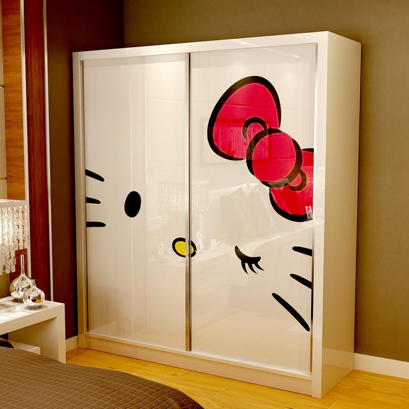 卡通衣柜推拉门2门 现代简约卧室儿童壁橱女孩柜子 整体移门家具