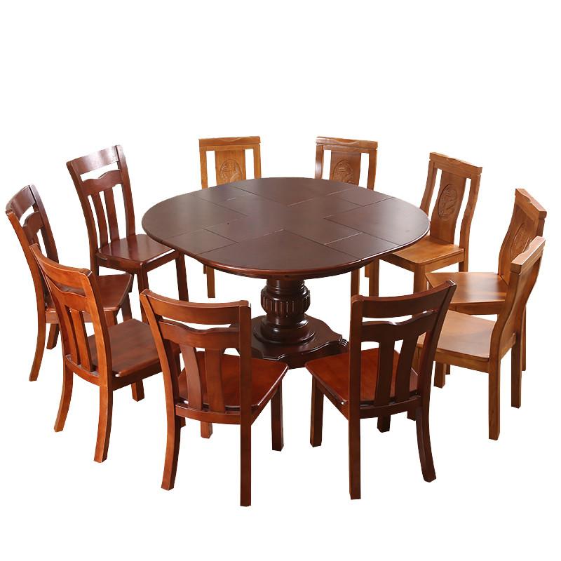 实木餐桌可伸缩旋转折叠变形状大小圆桌带转盘多功能餐椅组合12人
