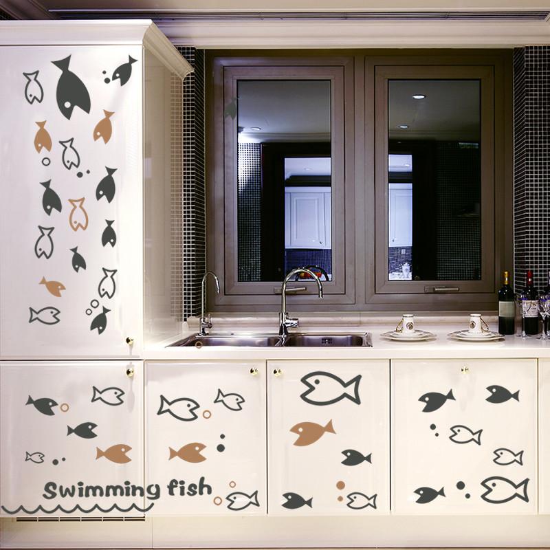 游泳鱼群个性创意客厅宿舍窗户玻璃装饰品墙贴纸彩色自粘贴画
