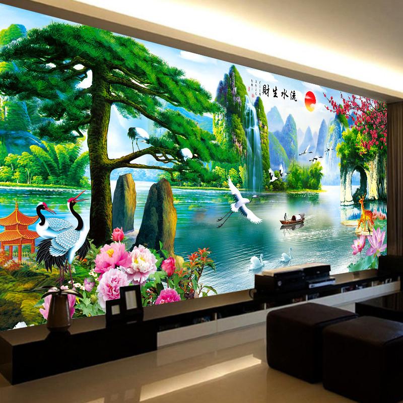 新款5鉆石畫滿鉆客廳十字繡流水生財磚石秀貼鉆畫山水風景點貼鉆
