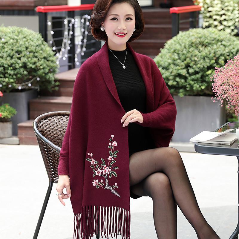 妈妈装_新款妈妈装春装外套新款大衣针织衫中年女装毛衣蝙蝠衫流苏斗篷披肩
