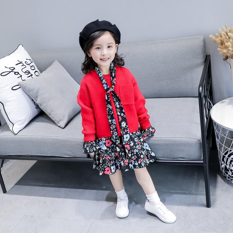 新款女童套装裙 2017秋装新款儿童毛衣长袖/碎花连衣裙 小女孩两件套