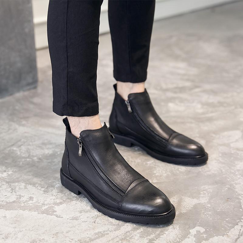 新款冬季马丁靴男士牛皮短靴韩版潮流真皮切尔西男靴英伦高帮皮鞋男图片