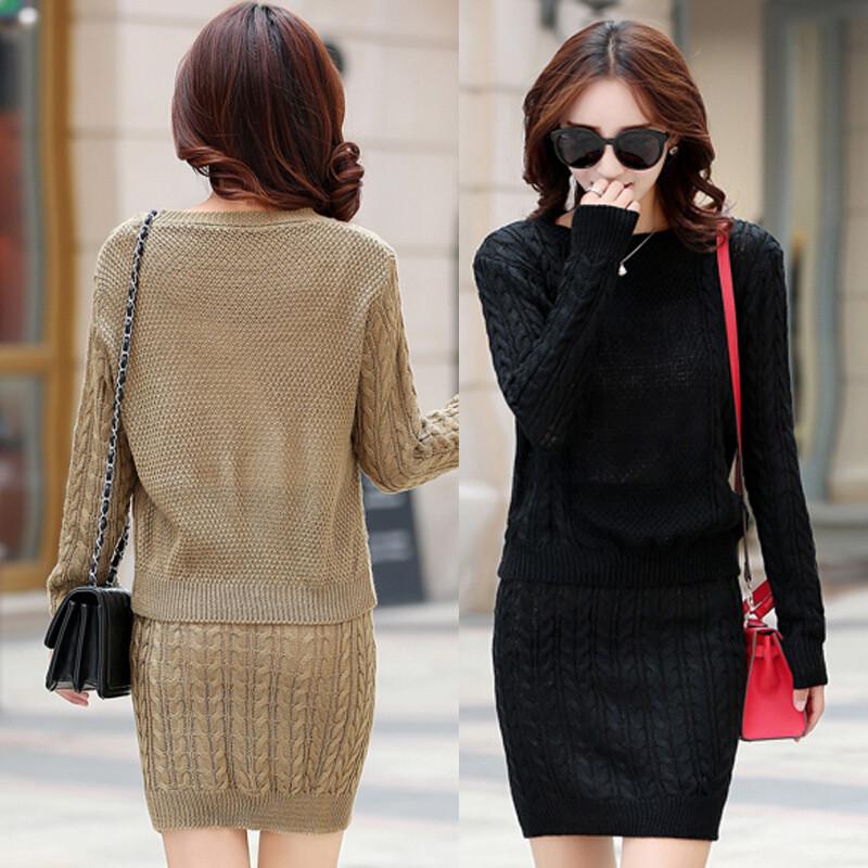 2017秋季新款针织套装女二件套韩版纯色麻花毛衣包臀半身群连衣裙l5