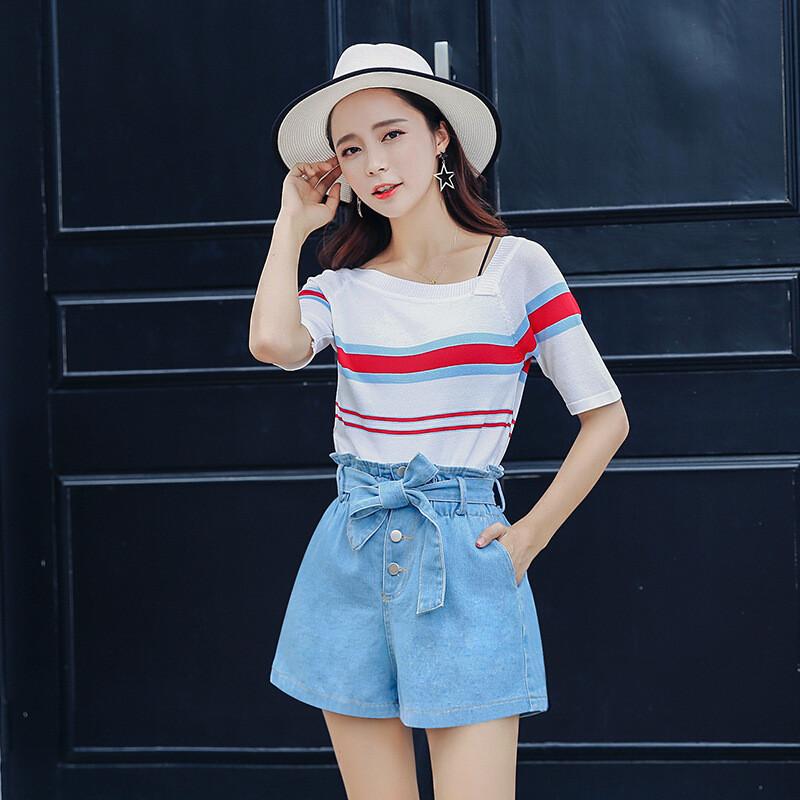 女���*:!&���&d9�-�`_短袖冰丝针织衫撞色薄款体恤条纹韩版女上衣d9
