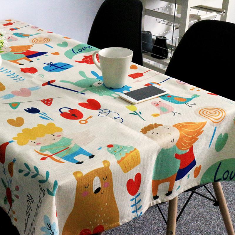卡通动物棉麻餐桌布艺台布圆桌布长方形加厚餐厅茶几盖巾布可定制