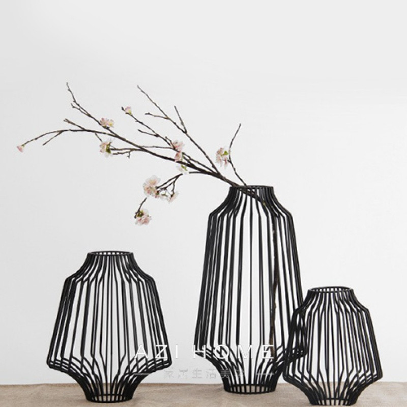 北欧现代中式新古典创意铁艺摆件装饰品软装配饰阑珊花器