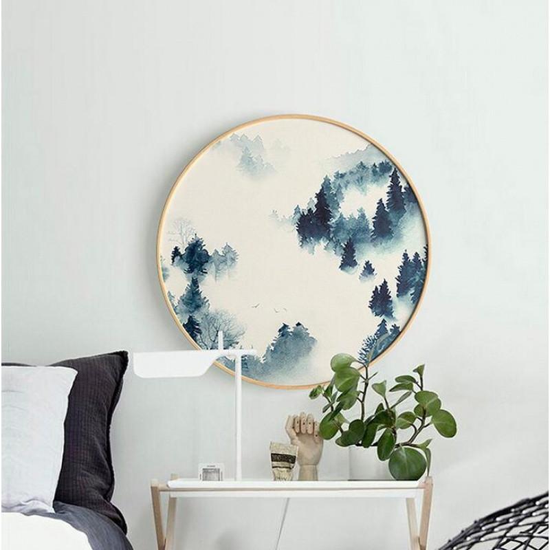 实木圆形装饰画挂画圆框画清新水彩风景