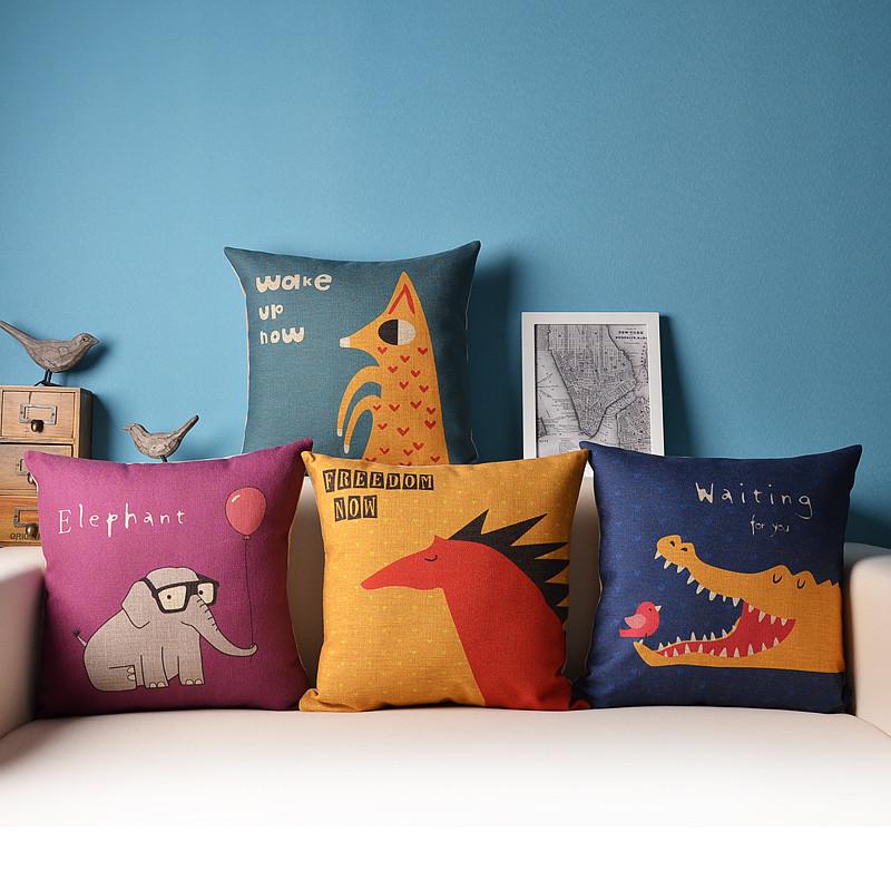 可爱动物卡通手绘北欧沙发办公室棉麻抱枕汽车靠枕亚麻靠垫套腰靠