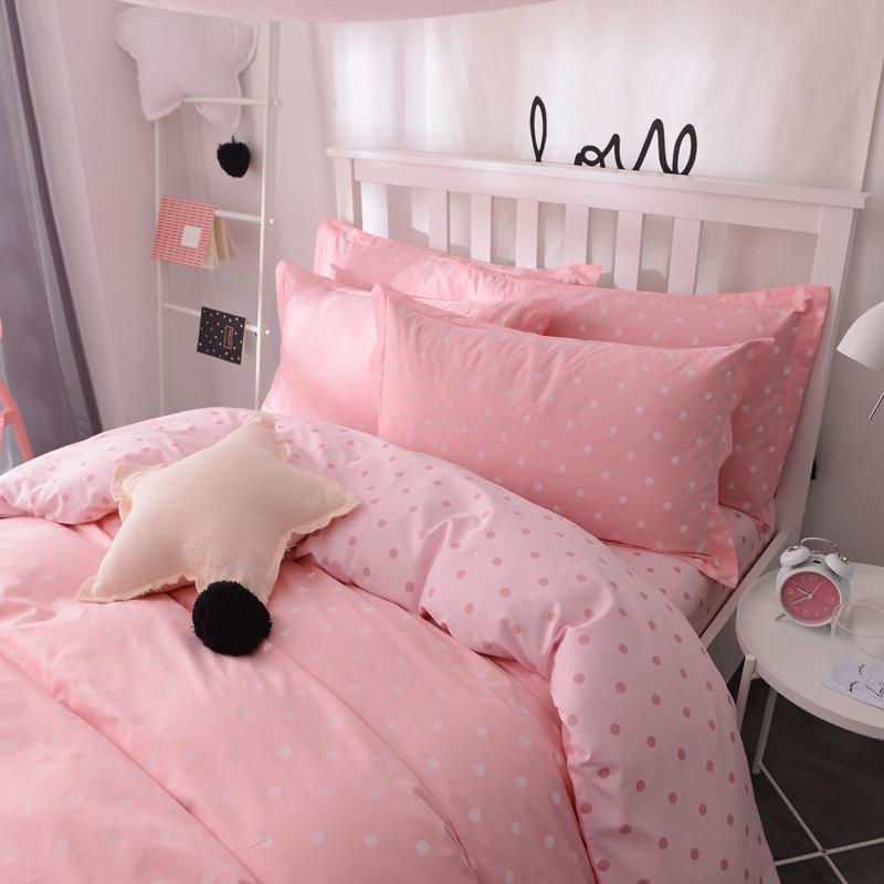 韩式粉色可爱波点纯棉四件套小清新公主卡通床上用品纯棉被套床单