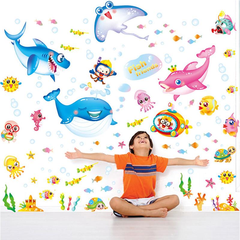 可移除墙贴纸贴画儿童房海底世界海洋动物卡通鱼群墙壁装饰地中海