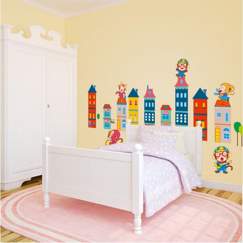 墙贴纸贴画可爱卡通城堡童话儿童房幼儿园墙面装饰卧室材料背景墙
