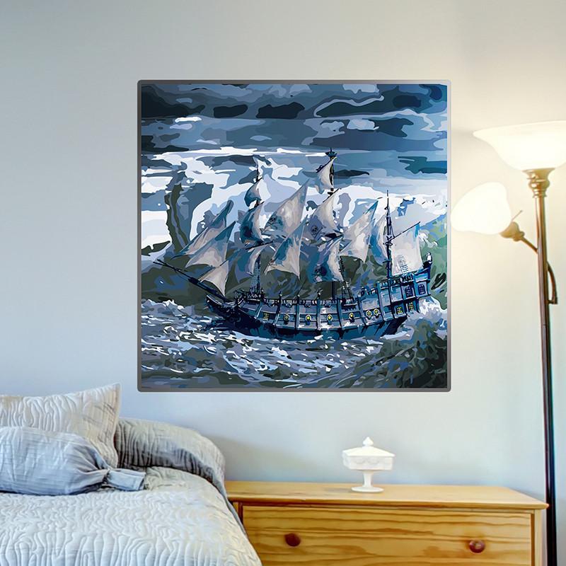 墙贴纸贴画水彩画装饰品框风景山水画客厅墙壁地中海帆船个性创意
