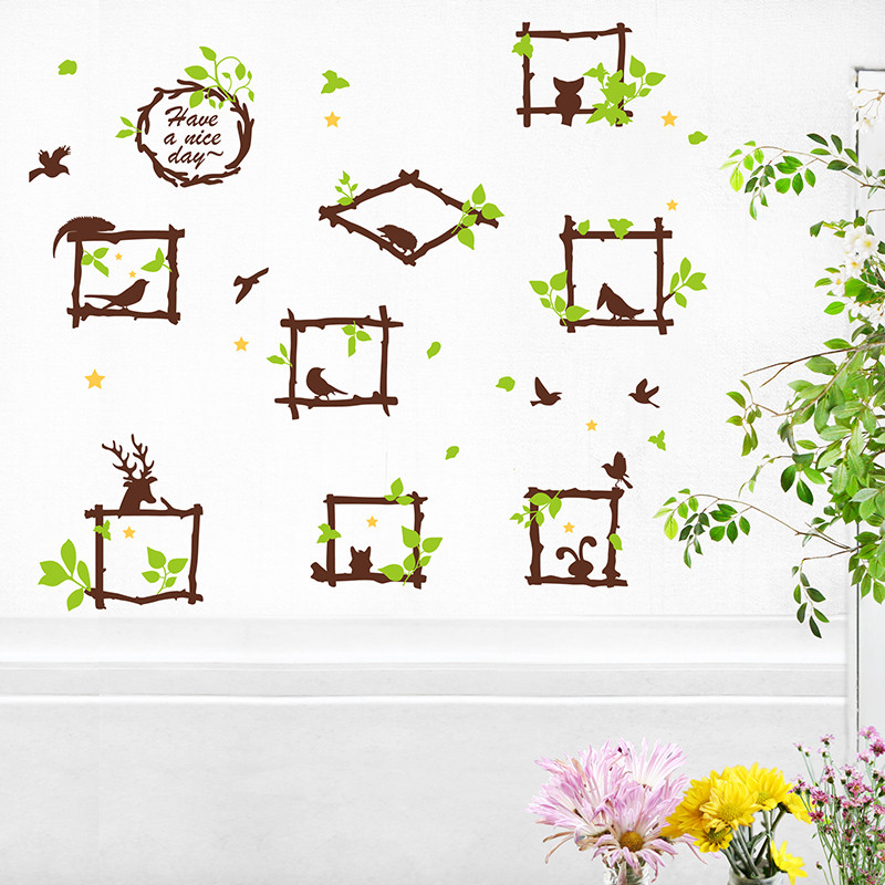可移除墙贴纸相片照片贴画客厅墙壁装饰树枝画框欧式风格个性创意