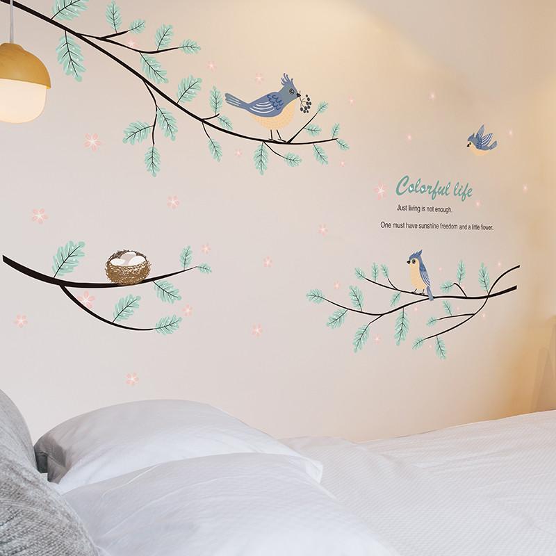 简约现代墙贴纸客厅沙发背景墙贴画文艺小清新装饰品墙壁纸小鸟树