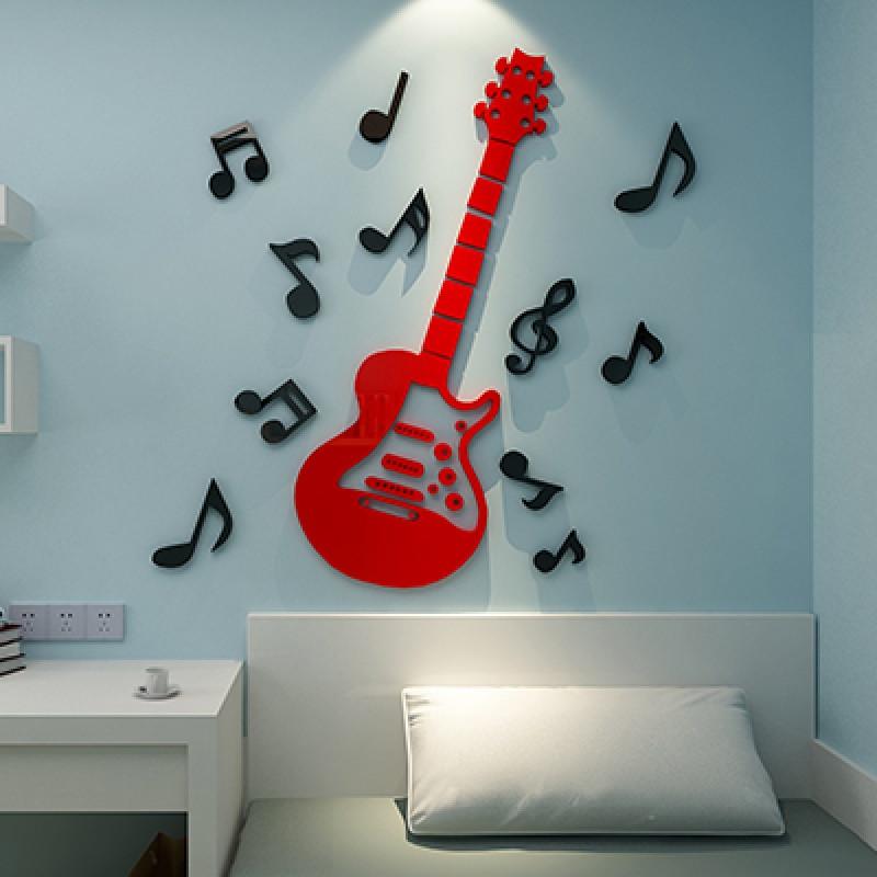 亚克力3d水晶立体墙贴儿童房卡通幼儿园客厅装饰音符音乐教室布置
