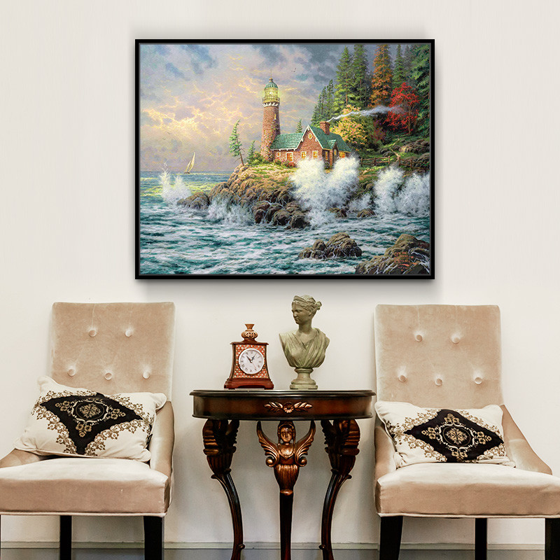 风景装饰画客厅美式单幅横版挂画沙发背景墙画卧室床头画