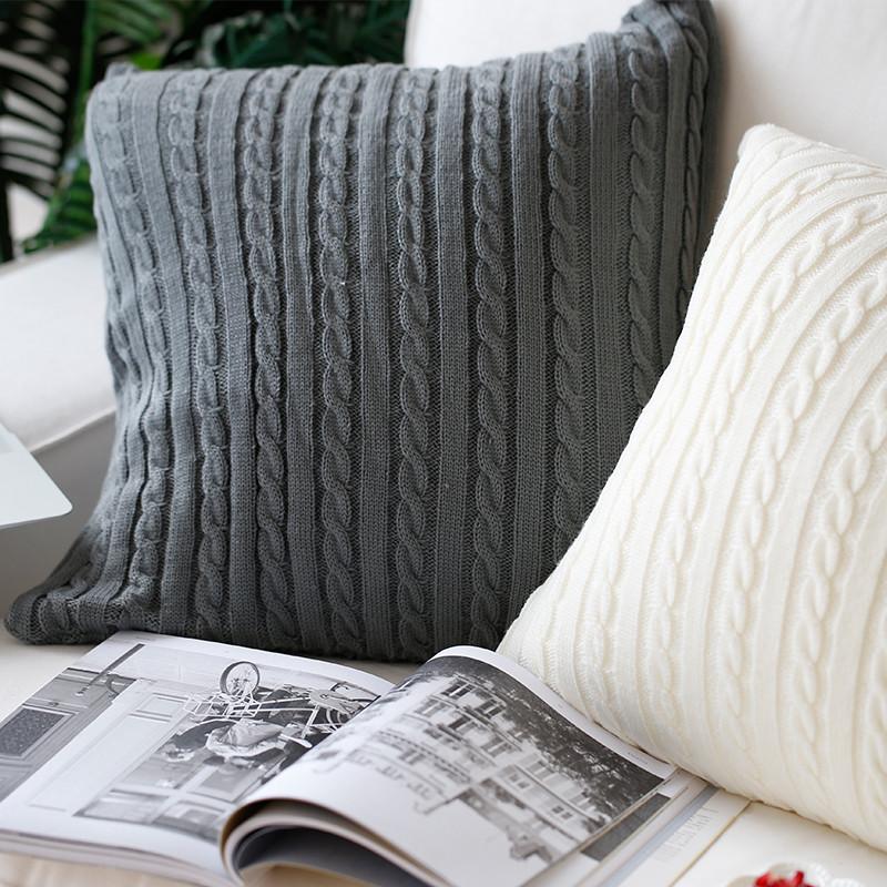 北欧毛线编织沙发装饰抱枕腰垫地板坐靠垫 装饰方枕头