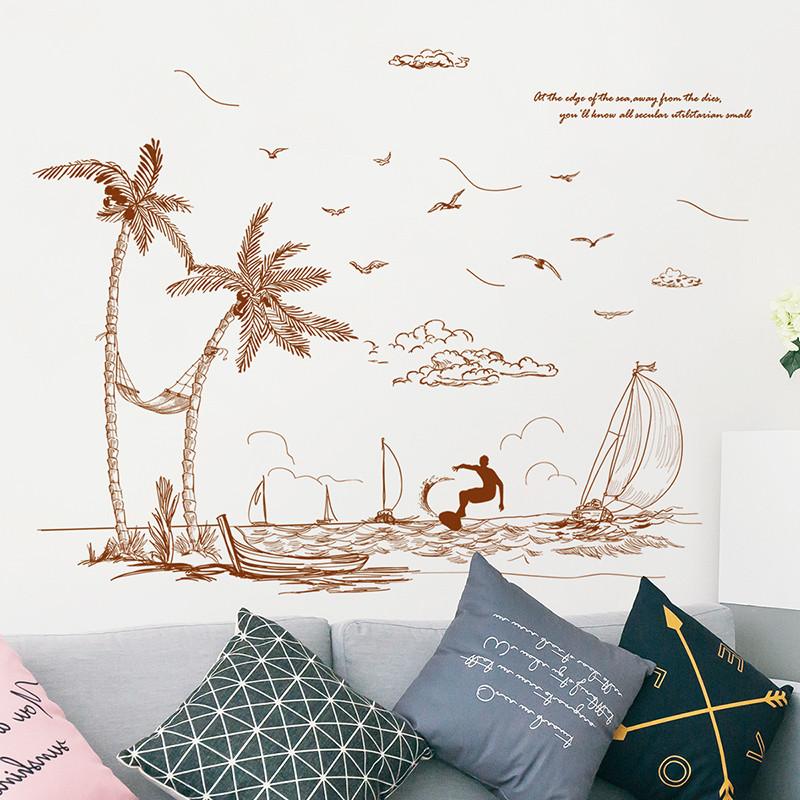 手绘海滩椰树墙纸客厅玄关自粘贴画清新楼梯卧室墙上布置墙贴纸