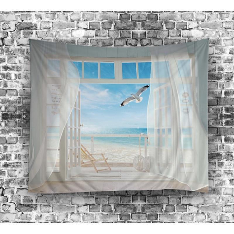 蓝天海鸥沙滩文艺北欧挂布墙面背景装饰画布墙挂毯沙发巾桌布