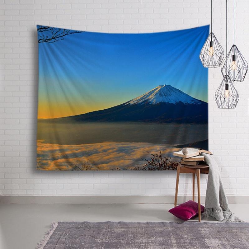 富士山风景北欧美挂布墙面背景装饰画布墙挂毯沙发巾桌布