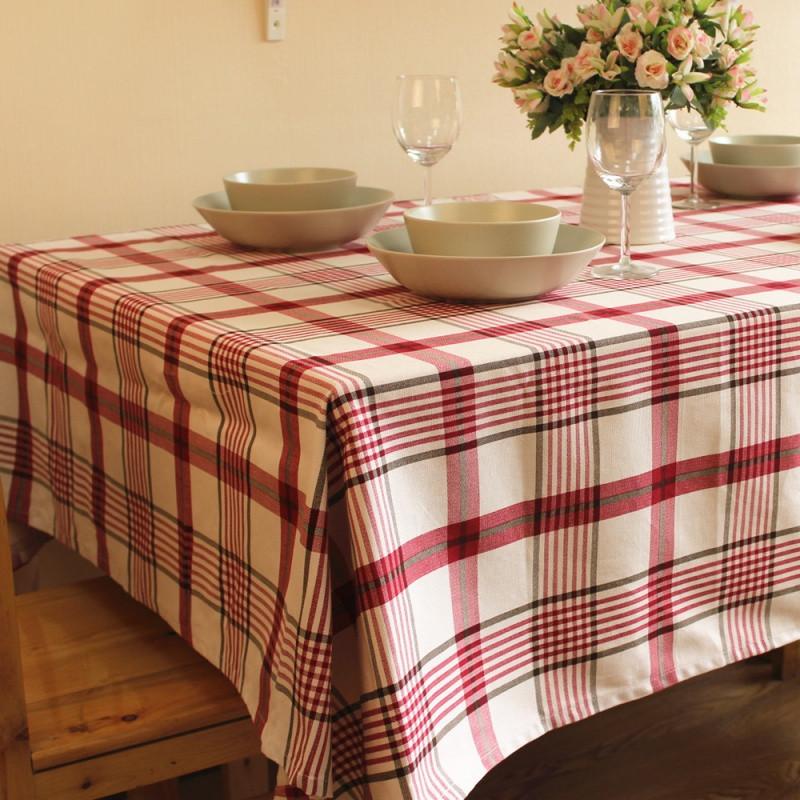 7折 棉麻格子 桌布 餐桌布艺 茶几布 台布盖布 瑞格2