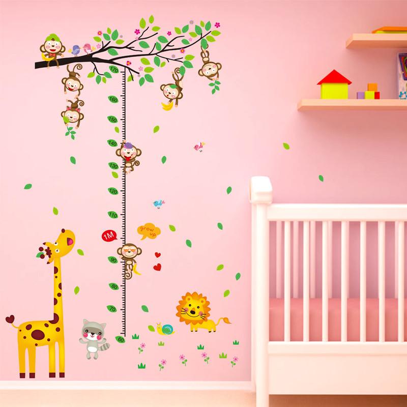 自粘墙贴纸贴画幼儿园儿童房间墙壁装饰品卡通可爱猴子爬树身高贴