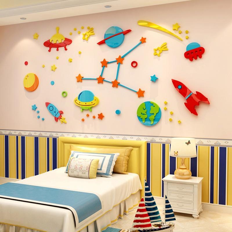 太空飞船亚克力3d立体墙贴画儿童房幼儿园墙贴纸男生床头屋顶装饰