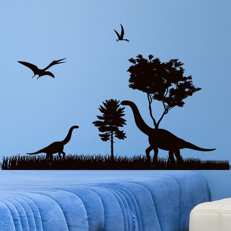 墙贴纸贴画黑白个性简约恐龙侏罗纪动物园博物馆考古墙壁纸装饰品